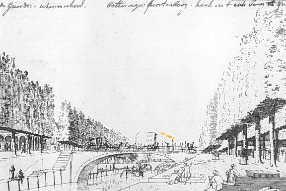 Pentekening Boteringebrug Groningen, Cornelis Pronk, 1754